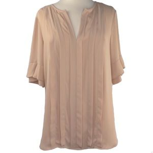 Ann Taylor subtly sheer and ruffle sleeves blouse